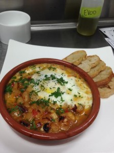 Baked Piperade Beans with Farm Egg