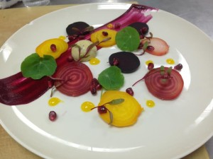 Chilled Beets with La Peral, Orange Puree and Pomegranate
