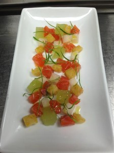 Lightly Smoked Salmon Tartar with Brioche, Cucumber and Asian Pear